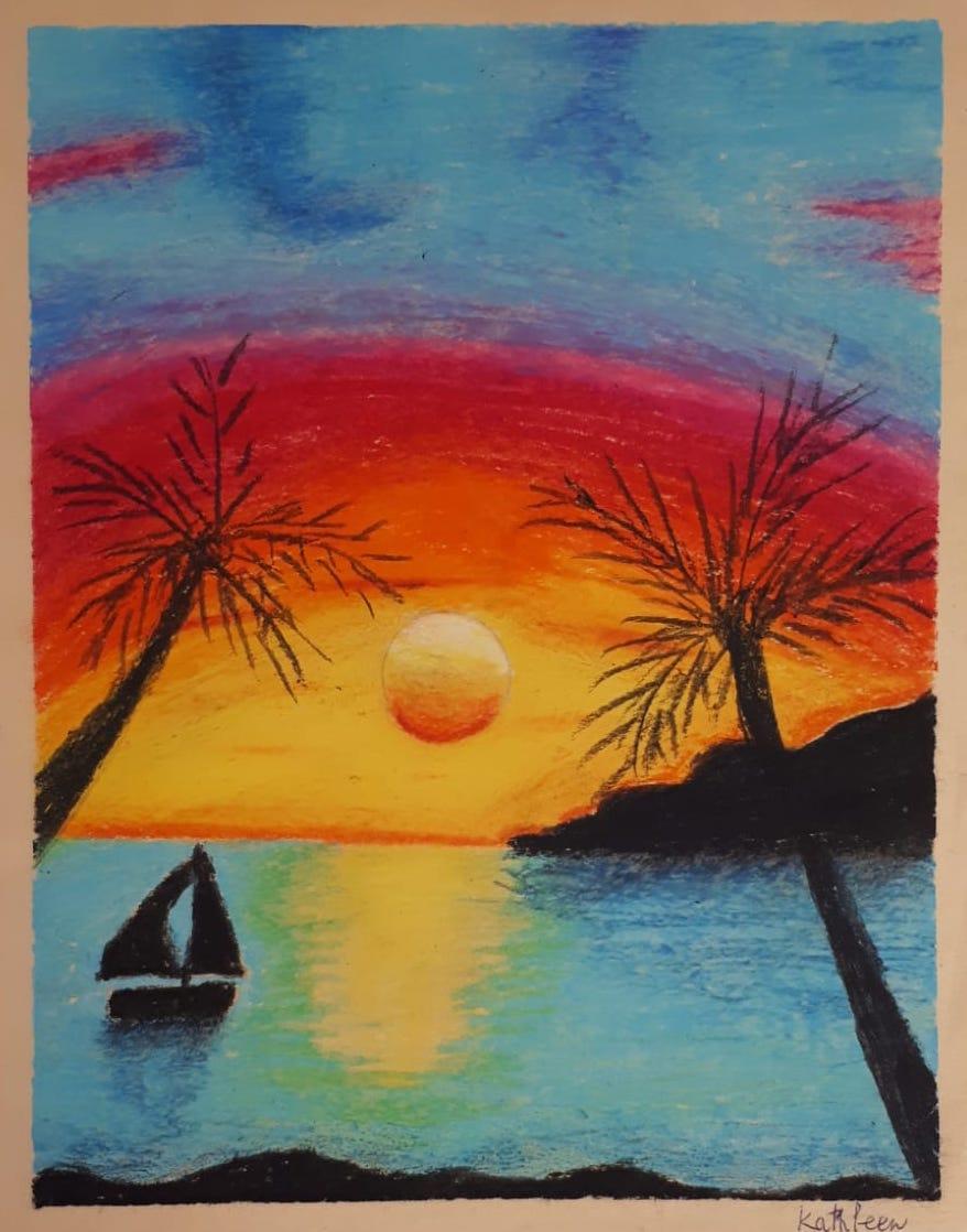 student art sailboat red sunset