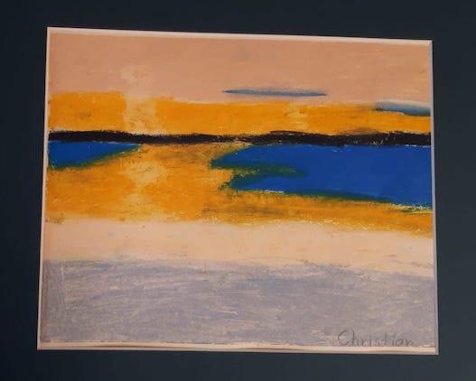 yellow sun seascape2 oil pastel